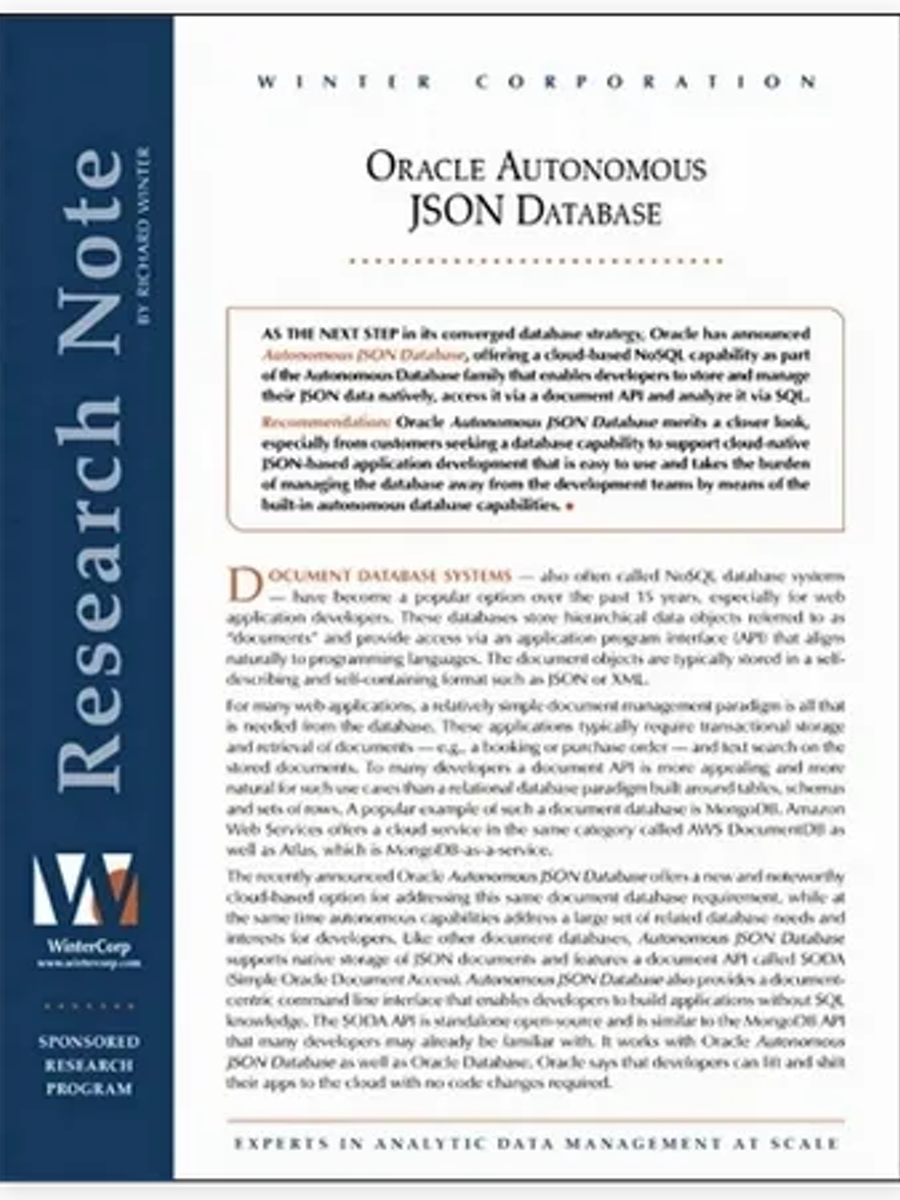 research paper which features retraced on the oracle JSON database