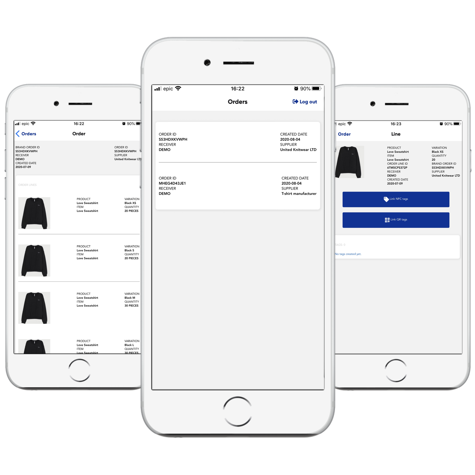 retraced business app three views in iPhones with orders, order lines and tagging view