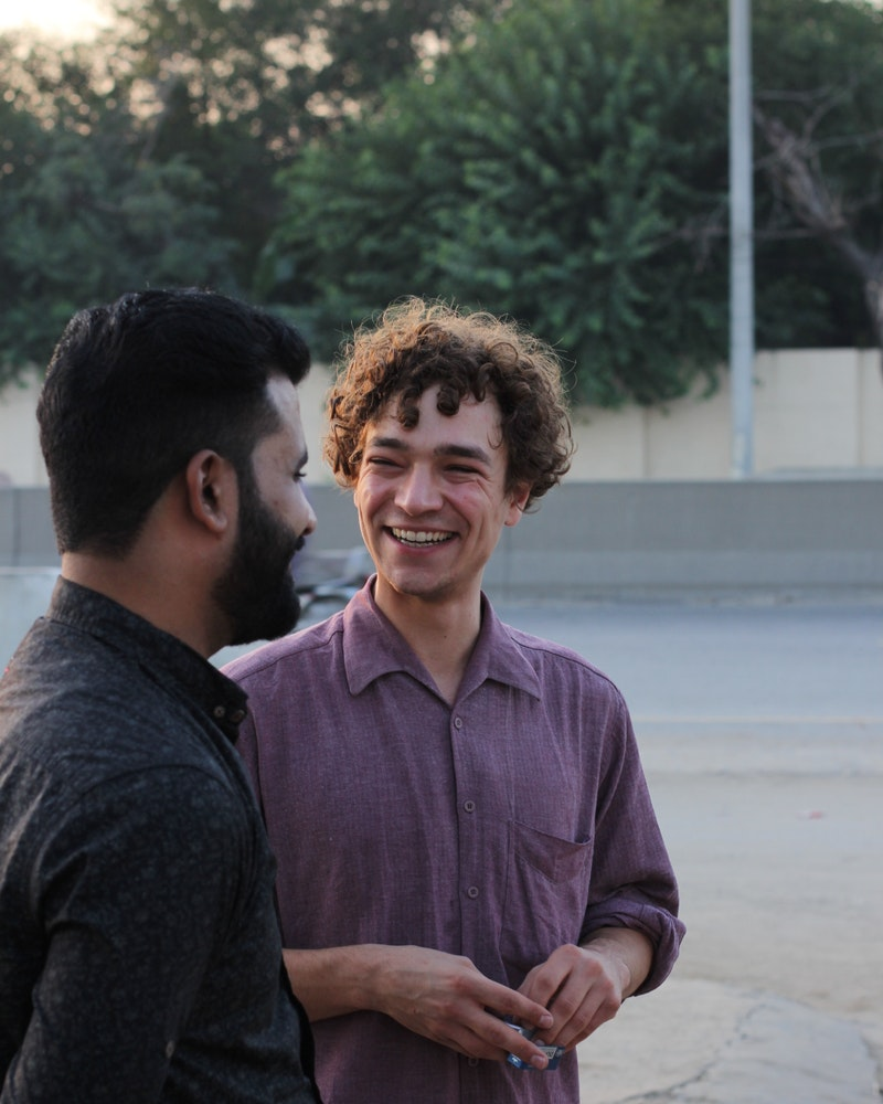 Jonathan speaking with his clients in Pakistan