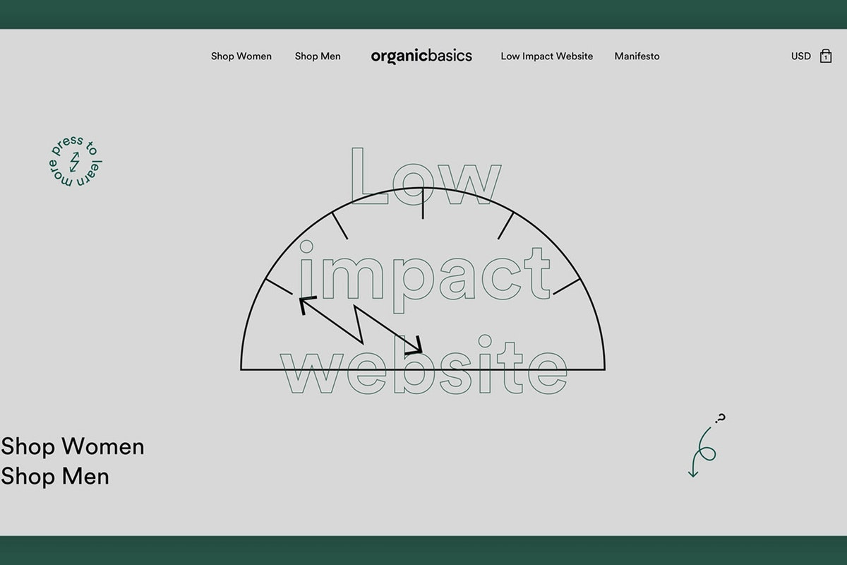 Image with view of Organic Basics' low impact website