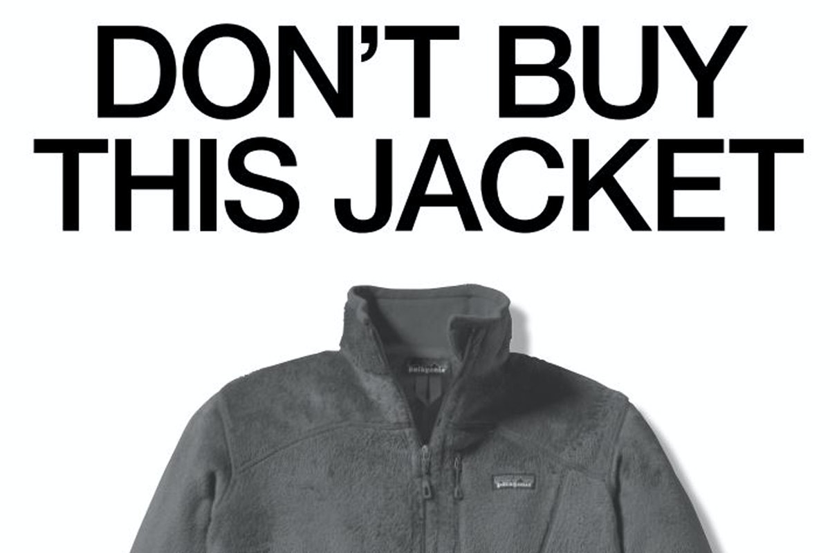 "Patagonia jacket with the statement ""Don't buy this jacket"" above"