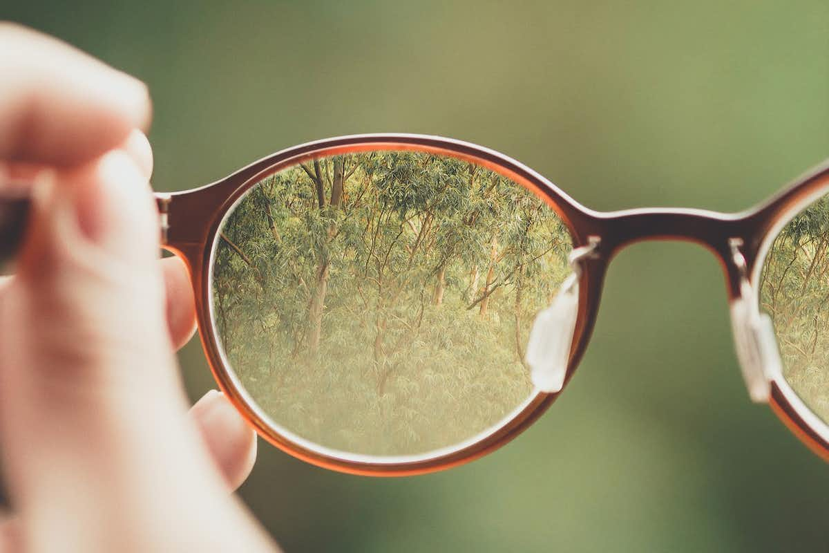 Magnifying glasses on nature background